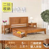 IHouse-伯洛 森林系二抽收納全實木床架-雙人5尺如圖