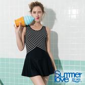 【Summer Love 夏之戀】加大碼條紋顯瘦連身帶裙泳裝(S19716)