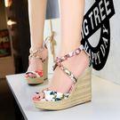 厚底涼鞋 坡跟涼鞋 高跟麻繩編織綢緞碎花...