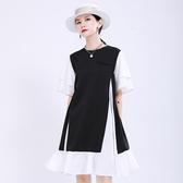 短袖洋裝-黑白拼色圓領大裙擺女連身裙73yh50【巴黎精品】