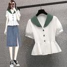 大碼撞色襯衫短T L-4XL新款胖妹大碼時尚撞色娃娃領百搭顯瘦短袖襯衣4749上衣 R04 胖妞衣櫥