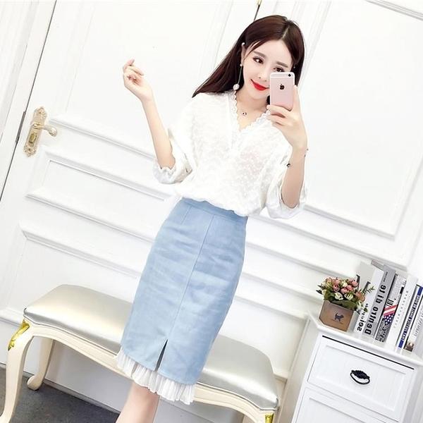 套裝  俏皮套裝兩件套夏季韓版V領雪紡上衣高腰拼接牛仔半身裙