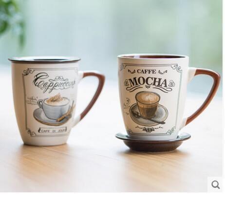 悠瓷歐式簡約大咖啡杯套裝帶蓋帶勺創意水杯陶瓷杯子個性馬克杯