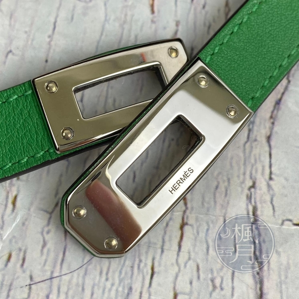 BRAND楓月 HERMES 愛馬仕 R刻 綠色 皮革 雙圈 銀釦 KELLY手環 皮環 XS