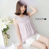 東京著衣-鏤空蕾絲打褶傘襬背心-XS.S.M(6011819)