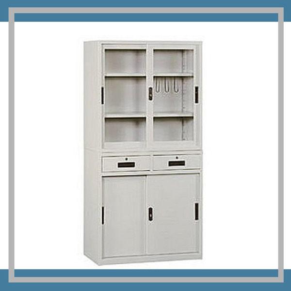 【必購網OA辦公傢俱】KG-88+KS-88-2D 玻璃拉門活動2層式 資料文件檔案櫃