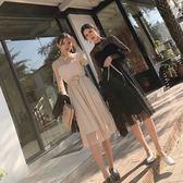 連身裙新款女裝百搭拼接毛喇叭袖收腰中長款蕾絲裙洋裝配腰帶【販衣小築】