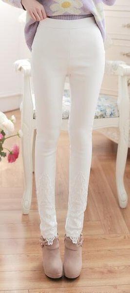 女式 顯瘦 蕾絲 花邊長褲