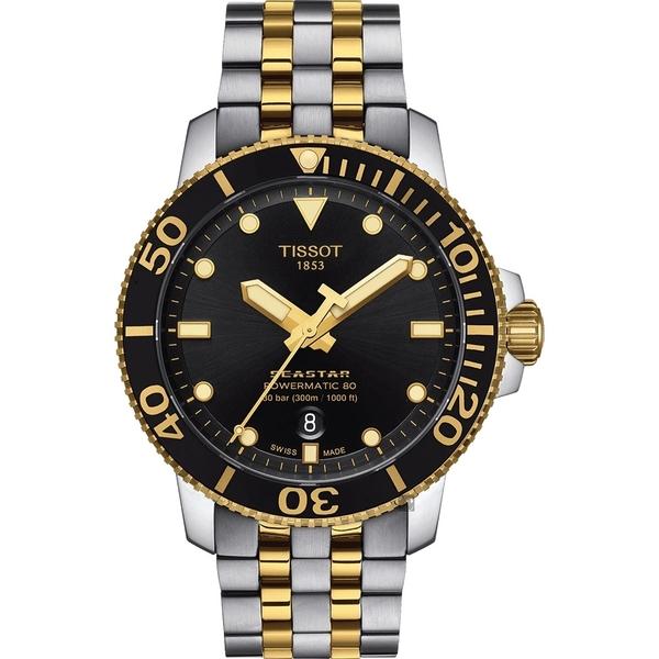 TISSOT 天梭 Seastar 1000 海洋之星300米潛水機械錶-黑x雙色/43mm T1204072205100