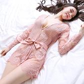 冰絲睡衣 睡裙女夏性感冰絲火辣蕾絲薄紗繫帶睡衣