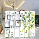 簡易屏風隔斷簡約玄關門客廳歐式臥室行動摺疊辦公室雙面布藝折屏HM 3c優購