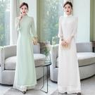 越南旗袍洋裝 20春季中國風立領修身氣質改良越南旗袍奧黛裙上衣 褲子兩件套