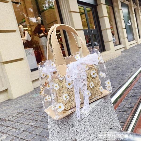 果凍包 夏季小包包女包2021新款潮百搭透明果凍斜背包沙灘爆款手提側背包 新品