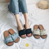 新品 夏季 新款 韓版時尚甜美木耳花邊一字 拖鞋簡約平底涼拖鞋 女 鉅惠85折