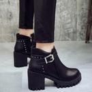 粗跟馬丁靴女2020新款秋冬季加絨百搭女鞋英倫風瘦瘦靴高跟短靴子「時尚彩紅屋」