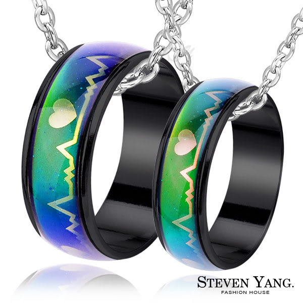 STEVEN YANG西德鋼飾 心電圖變色鋼戒指對戒鋼項鍊對鍊兩用 愛心*單個價格*附鋼鍊