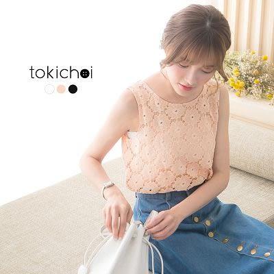 東京著衣-優雅蕾絲花朵無袖上衣-S.M(170471)