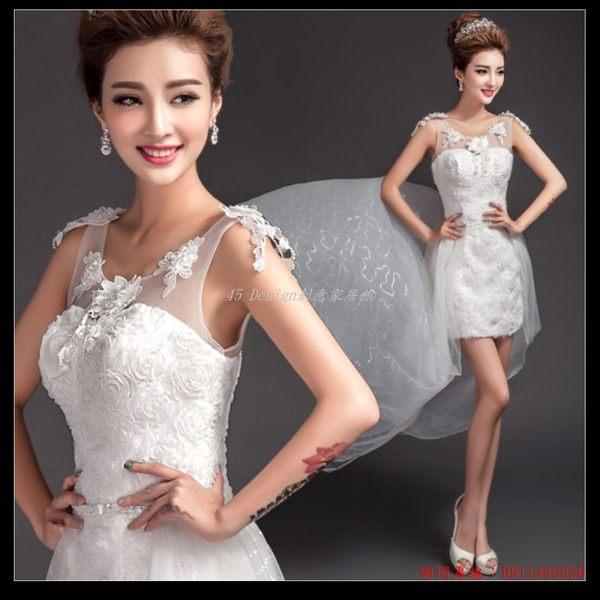 (45 Design) 訂做款式7天到貨  兩穿 蕾絲花朵透視一字肩前短後長可拆卸拖尾新娘婚紗禮服