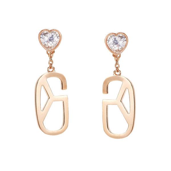 耳環 Earring Monogram Diamond Heart 玫瑰金 銅鍍 施華洛世奇水鑽