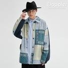 教練外套 日系變形蟲拼接花色潮流翻領夾克...