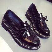 粗跟中跟英倫風學院學生加絨低跟小皮鞋女鞋 青木鋪子