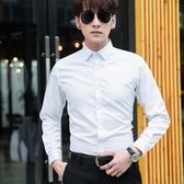 春秋白襯衫男長袖韓版修身商務正裝職業工裝短袖結婚伴郎西裝襯衣