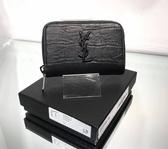 ■現貨在台■專櫃77折■ Saint Laurent Paris YSL 鱷魚紋小牛皮零錢包 黑色