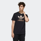 J-adidas TREFOIL 短袖 上衣 T恤 休閒 運動 白底 金標 三葉草 金屬感 男 後大LOGO 前小LOGO GH7777