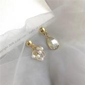 耳環S925銀針韓國東大門冷淡風不對稱金屬珍珠耳環女耳釘耳夾265新年禮物