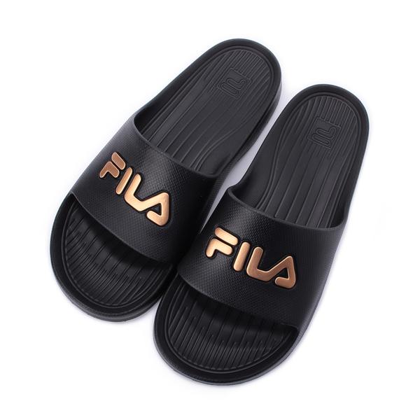 FILA 大LOGO套式拖鞋 黑金 4-S355T009 男鞋 鞋全家福