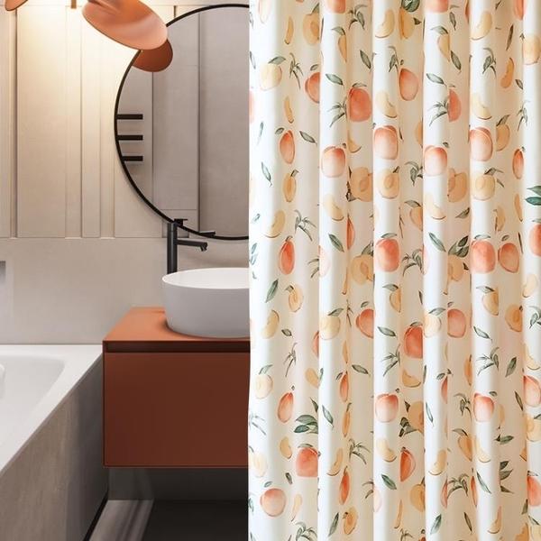 清新浴室浴簾防水布衛生間洗澡簾子掛簾加厚防霉隔斷簾套裝免打孔