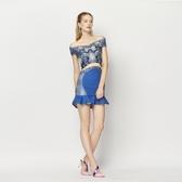 露肩一字領上衣+短裙(兩件套)-時尚性感包臀魚尾女裙裝73lk31【巴黎精品】