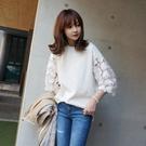 漂亮小媽咪 韓風洋裝 【D8803】 網紗 緹花 寬鬆 短版 棉T 蕾絲 簍空 歐根紗 寬袖 孕婦裝