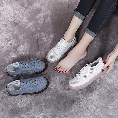 真皮平底女 透氣休閒鞋 運動小白鞋/2色-夢想家-標準碼-0529