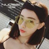 韓國個性大框圓形海洋片太陽鏡女潮人2017新款潮墨鏡蛤蟆鏡【無趣工社】