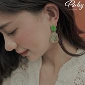 耳環 RCha。彩石幾何造型耳環-Ruby s 露比午茶