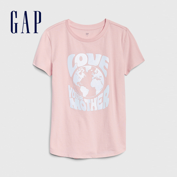 Gap女童 創意風格圖案短袖T恤 577837-煙玫紅