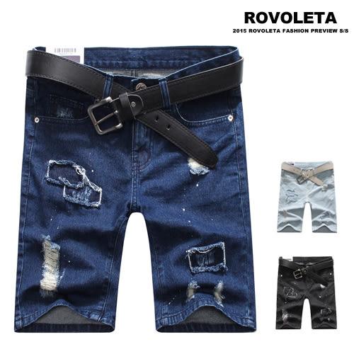 抽鬚補丁牛仔短褲【HH-1609】(ROVOLETA)