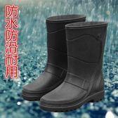 雨鞋 時尚男雨鞋中高筒防水防滑韓版仿皮機車水鞋套鞋釣魚水靴雨靴 野外之家