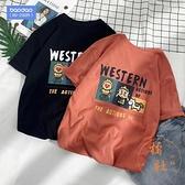 印花短袖T恤男夏季寬鬆大碼五分袖體恤【橘社小鎮】