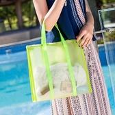 ◄ 生活家精品 ►【Z147】簡約網格純色手提包(大) 游泳包 乾濕分離 男女 肩背 泳衣 沙灘  包 手提