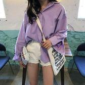kumayes自制 韓版純色中長款單排扣女士開衫襯衣休閑學生寬松襯衫