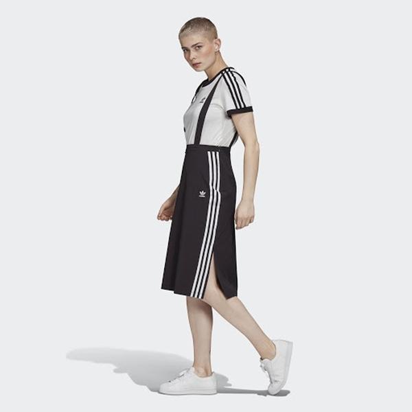 ADIDAS 吊帶裙 褲裙 CHINO SKIRT 黑 白 三線 吊帶可拆 女 (布魯克林) GK3657