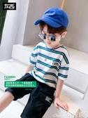 兒童T恤童裝男童T恤短袖夏裝2020新款兒童純棉條紋上衣中大童夏季潮 小天使
