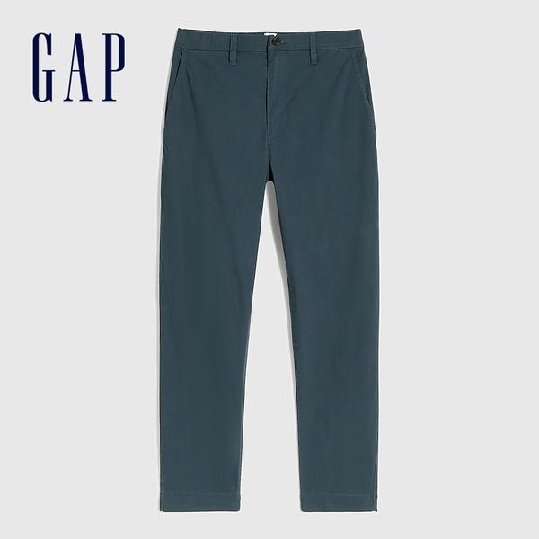 Gap男裝 商務風中腰直筒型休閒褲 911065-灰藍色