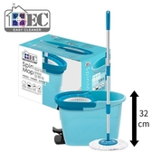 LIKA夢 家簡塵除 Easy Cleaner 雙驅動旋轉脫水拖把組 Tiffany藍 1桶1拖1布