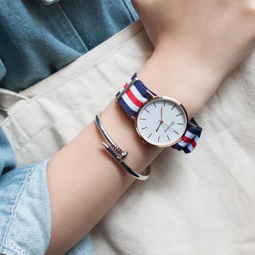 韓國英倫尼龍帆布時尚潮流休閒簡約文青閨蜜男錶對錶女錶學生手錶皮帶手表[W054]