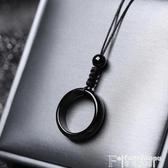 熱銷項鍊黑曜石瑪瑙平安扣指環吊墜男女式情侶款項鍊個性簡約網紅鎖骨錬