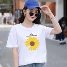 純棉白色短袖t恤女2021年新款夏季超火ins寬鬆網紅學生大碼上衣潮 「快速出貨」青木鋪子