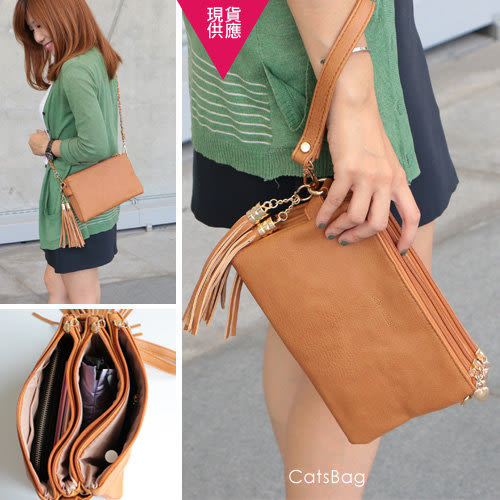 斜背包-高質感厚實皮革三用流蘇包/附三條背帶/五層設計-Catsbag-G2200914